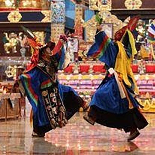 Tsa-Cham performed at Namdroling Monastery during Losar