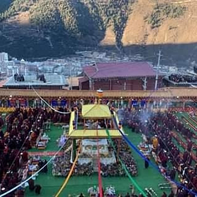 Cremation ceremony HH Thubten Palzang Rinpoche at Palyul Monastery