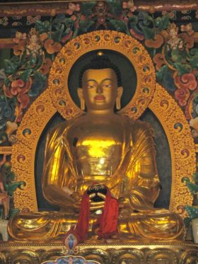 Statue of Shakyamuni Buddha at the Nyingma Gompa, Bodhgaya, India