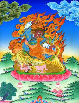 Thangka image of Dorje Dragpo Tsal, Conqueror of all Outer, Inner and Secret Obstacles, which originate, without exception, from the karmic condition of the mind