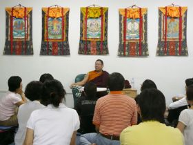 Venerable Lama Dondrup Dorje giving Dharma Teaching to students in Malaysia
