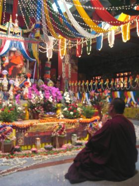 Venerable Lama Dondrup Dorje praying in front of the Kudung of his root guru, the late Holiness Pema Norbu Rinpoche at Namdroling Monastery in India