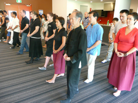 Students practising Chan Ding Walking Mediation in Sydney, Australia