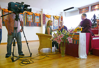 Filming during the interview at the Pathgate Dharma Centre in Athens
