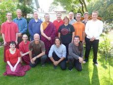 Ven. Lama Dondrup Dorje with students in the Netherlands