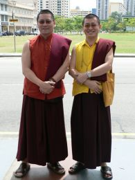 Lama Dondrup Dorje with Khenpoe Jurme Kunzang of the Singapore Palyul Centre in June 2005