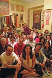 Lama Dondrup Dorje with students in Athens