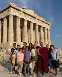 Lama Dondrup Dorje with family members, students and friends from Hong Kong, China, Australia and the UK, at the Acropolis in Athens