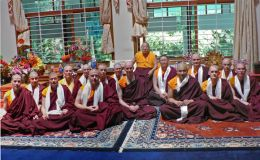 H.H. Penor Rinpoche with Lama Dondrup Dorje and the Newly Ordained Students