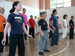 Students in Italy practice Meditative Qigong