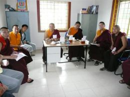 Lama Dondrup Dorje joins Khenpo Achung, Khenpo Tsering Namgyal, Lopen Yonten and Lopen Nyima at the Presentation of Work Reports by Taiwanese Medical Students at the Namling Tsepal Tobkyed Hospital