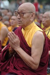 Venerable Chodak Gyatso Rinpoche during Drupchen Celebrations at Namdroling Monastery