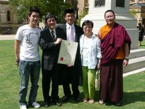 Lama Dondrup Dorje with his cousin Ivy, her husband Eric and their sons. (From right to left) Lama Dondrup Dorje, Ivy Yeoh, Doctor Daniel Yeoh, Doctor Eric Yeoh and Neil Yeoh