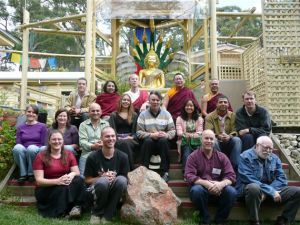 Lama Dondrup Dorje with teachers and students at Chan Academy