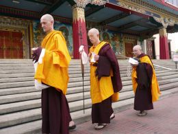 Newly Ordained Students circumambulating around the Golden Temple at Namdroling Monastery after the completion of the Ordination Ceremony