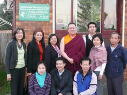 Lama Dondrup Dorje with members of the Khmer Workers Forum