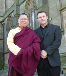 Lama Dondrup Dorje with Reverend Marc Palmer outside St. Chad's Church