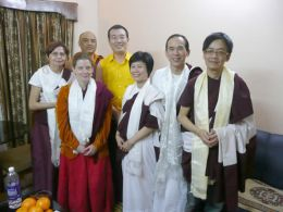 Some of the students who received copies of the English edition of the Nyingma Monlam Chenmo Prayer Book posed here with Gyangkhang Tulku, the Vice Chairman of the Nyingma Monlam Chenmo International Foundation, and Khenpo Tenzin Norgay, the resident teacher at the Palyul Retreat Centre in upstate NY, USA.