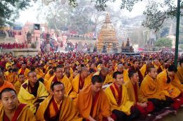 The ordained sangha at the Nyingma Monlam Chenmo
