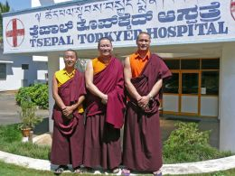 Lama Dondrup Dorje with Lopon Nyima Sherpa and Lopon Sonam Dendup, the two Administrators of the Namling Hospital