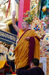 His Holiness Penor Rinpoche in the Golden Temple at Namdroling Monastery