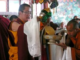 HH Karma Kuchen Rinpoche during rituals in Zangdok Palri Temple