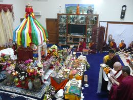 Yangthank Rinpoche leads the Ceremony of Lama Choepa before the Kudung of HH Penor Rinpoche inside his residence