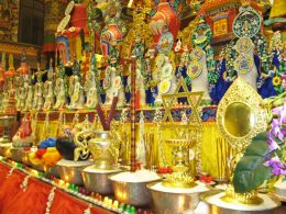 Offerings during the month of Saga Dawa, in the Golden Temple at Namdroling Monastery