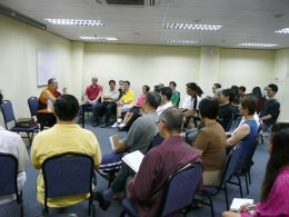 Students in Singapore follow Ven. Lama Dondrup Dorje's methodical explanation of the essence of the Heart Sutra