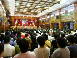 Palyul Sangha and Buddhist devotees attending the Lama Choepa Puja (prayer ceremony) in honour of the Mahaparinirvana of the late Holiness Pema Norbu Rinpoche