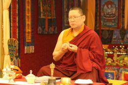 Venerable Lama Dondrup Dorje during a Mandala Offering at the Summer Retreat
