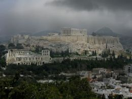 Rainclouds gathered over the Acropolis in Athens