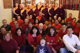 Ven. Lama Dondrup Dorje with some of the students at the Pathgate Dharma Centre - Newcastle upon Tyne