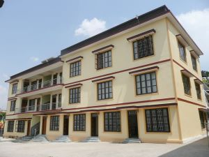 The second three-storey building sponsored by the Pathgate Partnership Programme for use by the Ngagyur Nyingma University at the Namdroling Monastery