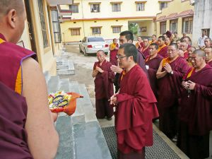 HH Karma Kuchen Rinpoche opening the new building