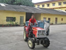 The tractor offered by Pathgate Institute to the Namdroling Monastery