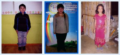 Three of the children benefiting from ongoing sponsorship by the Patghate Partnership Programme
