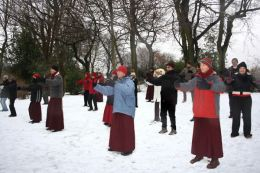 Students practice Classical Qigong in the snow