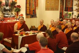 Venerable Lama Dondrup Dorje giving teaching at the Pathgate Dharma Centre