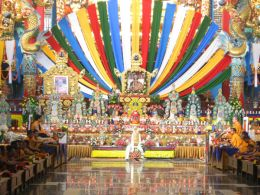 Puja during the First Anniversary of His Holiness Penor Rinpoche's Parinirvana in the Golden Temple at Namdroling Monastery, India