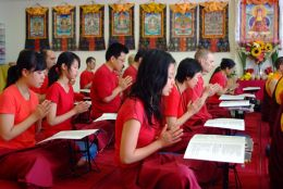Students chanting prayer during the Namcho Ngondro Retreat