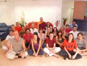 Ven. Lama Dondrup Dorje and students in Bucharest, Romania