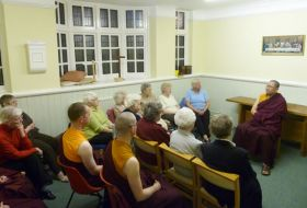 Rinpoche giving talk at Methodist church