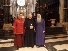 Ven. Lama Dondrup Dorje and His Excellency Malkhaz Songulashvili with the Reverend Canon Maurice Simmons of Durham Cathedral