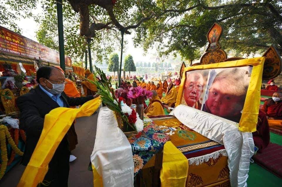 Offering of Khata to the throne of HH Penor Rinpoche and Yangtrul Drubwang Mingyur Dechen Garwang Zilnor Dorje Rinpoche