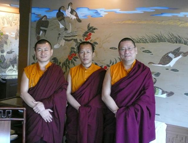 Khenpo Jurme Kunzang Rinpoche (left), Khenpo Sangay Wangdi Rinpoche (middle), and Lama Dondrup Dorje Rinpoche (right)