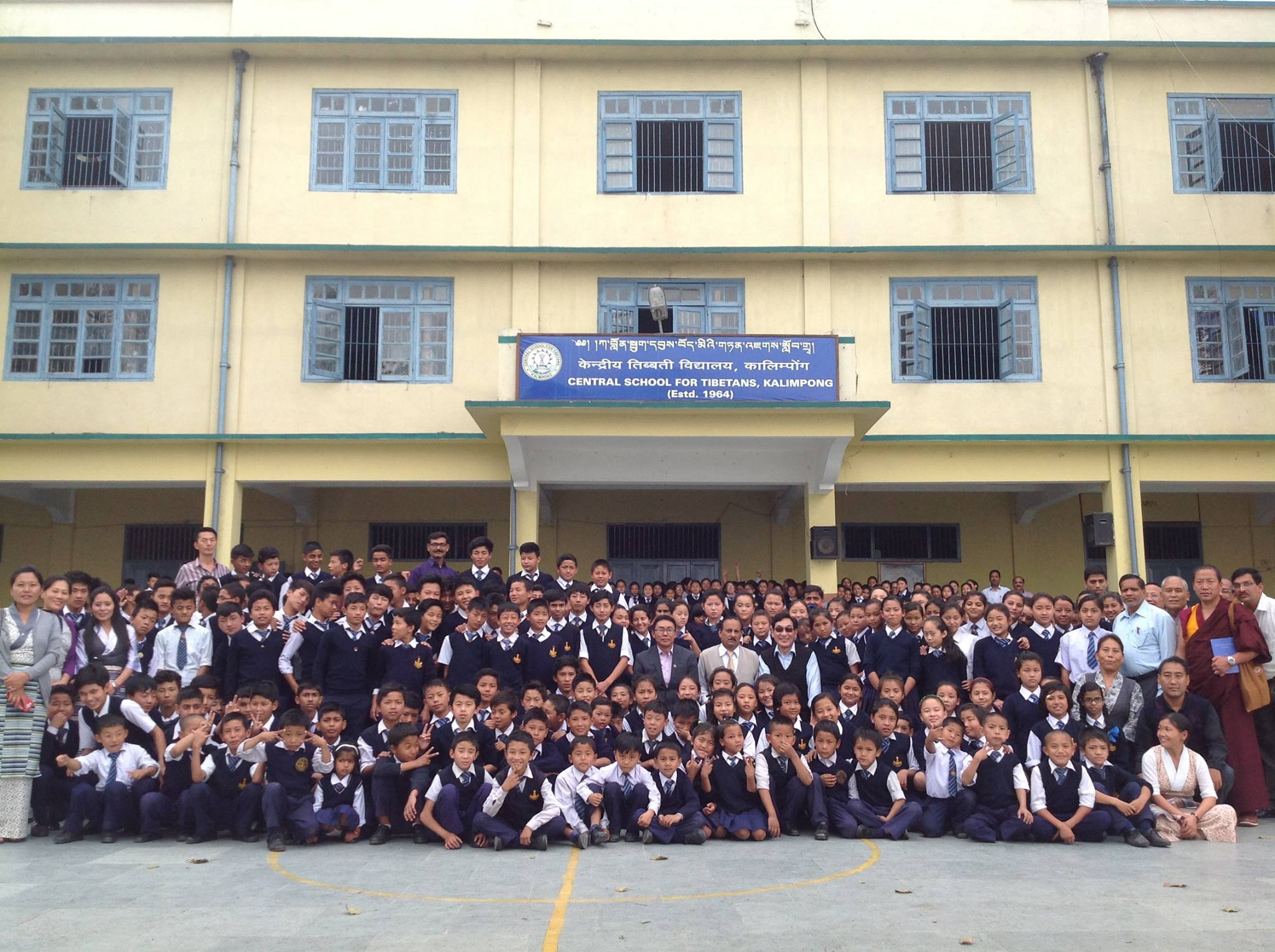 The staff and students of Central School for Tibetans, Kalimpong, India