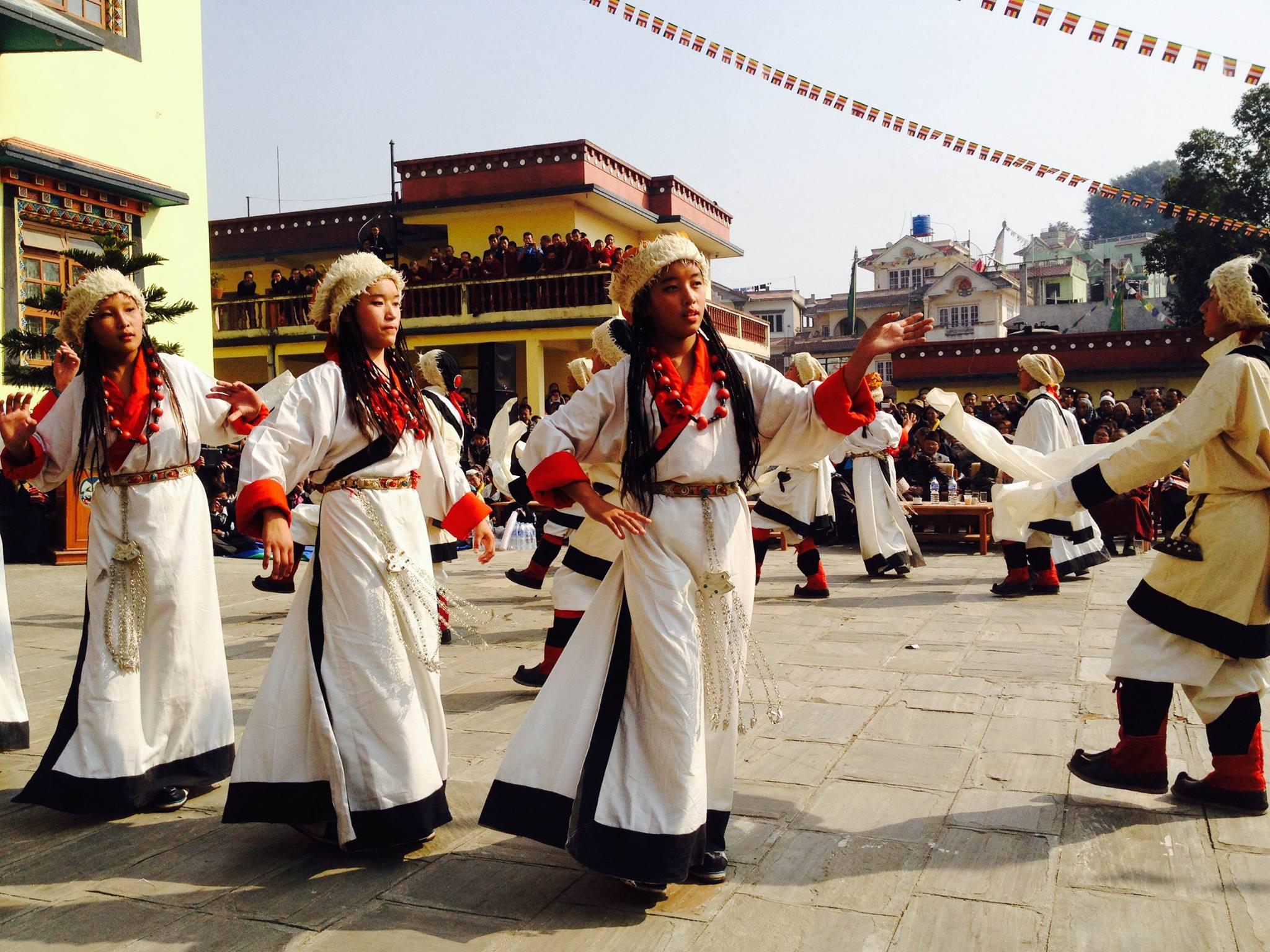 Students of Srongtsen Bhrikuti Boarding High School, Shelkar monastery, near Tinchuli, Boudha, Nepal