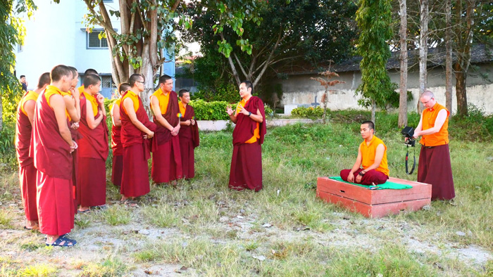 Filming monks