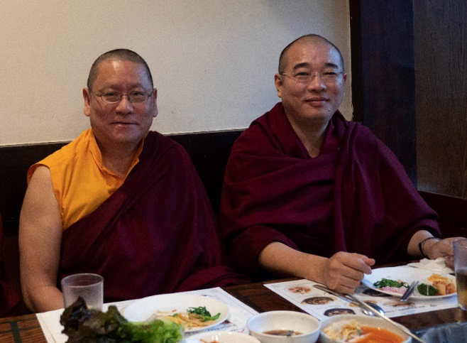 Lama Dondrup Dorje Rinpoche with Chogtrul Gyangkhang Rinpoche at the meal